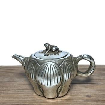 LAOJUNLU Imitation Antique Lotus Pot White Copper Plated Silver Pot Teapot Kettle Jug Small Copper Pot Crafts Collection