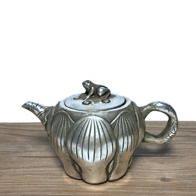 China Exquisite Pure Brass Dragon Tortoise Turtle Phoenix Bird Flagon Teapot
