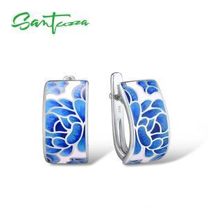 Женские серебряные серьги SANTUZZA, серьги из серебра 925 пробы с эмалью и голубым цветком, модные ювелирные украшения ручной работы