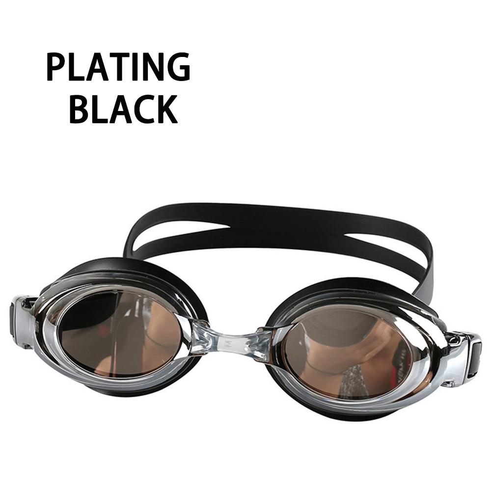 Оптическая близорукость плавательные очки 200-800 градусов Силиконовые противотуманные водная диоптрия плавательные очки для мужчин и женщин очки по рецепту - Цвет: Plating Black
