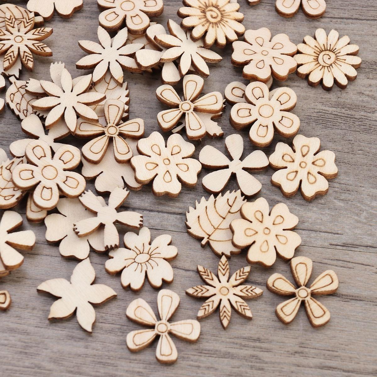 100pcs 20mm DIY Doodle Wood Decoration Wooden Ornaments Multiple Patterns Wood DIY Crafts Christmas Tree Decoration