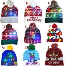 В продаже! 2020 новогодний светодиодный вязанная Рождественская шапочка, шапочка, светильник, светящаяся теплая шапка для детей, взрослых, но...