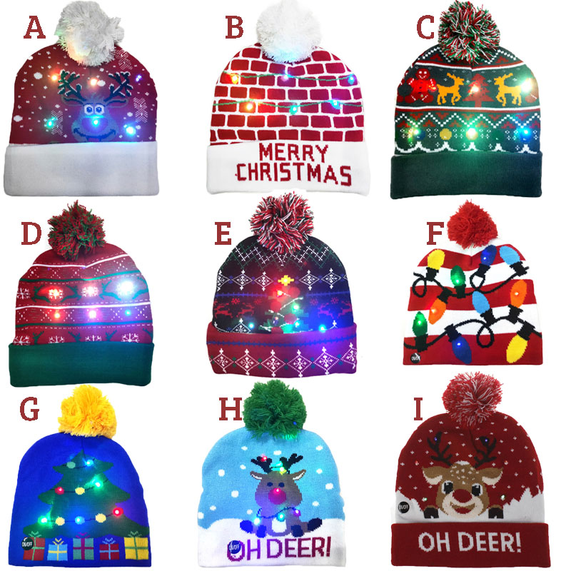 ON SALE! 2020 New Year LED Knitted Christmas Hat Beanie Light Up Illuminate Warm Hat For Kids Adults New Year Christmas Decor