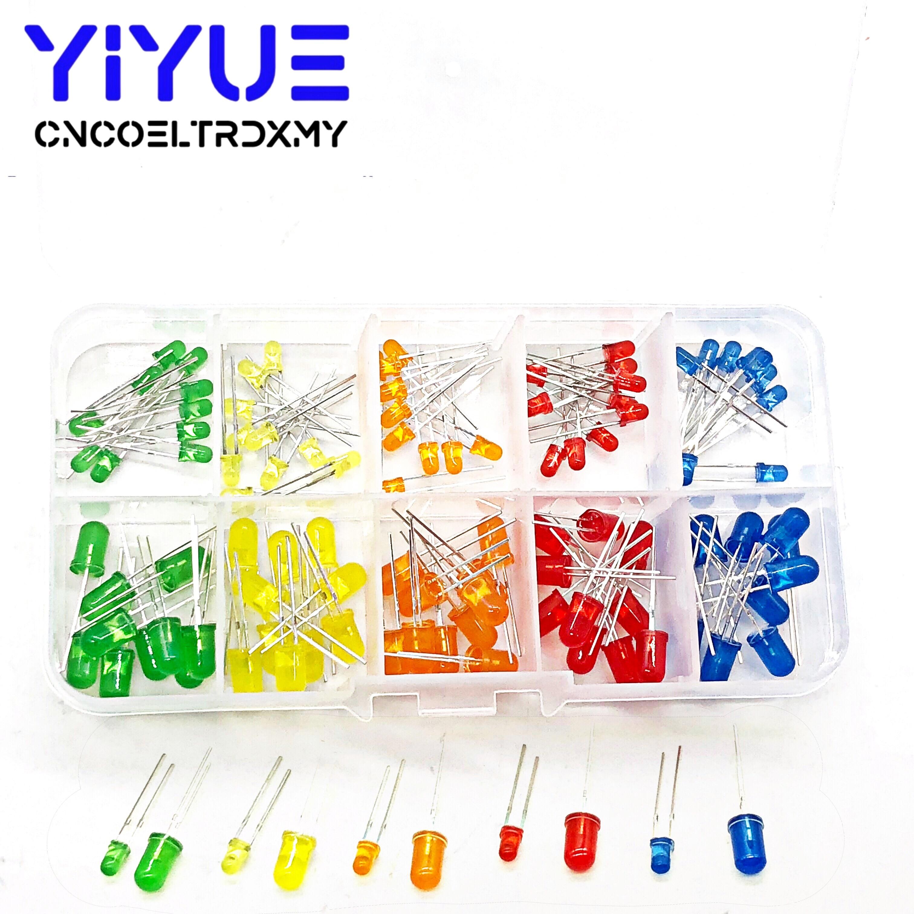 100pcs LED Emitting Diodes Light Kit 5 Colors Round Top 3mm/5mm  Yellow Red Blue Green Orange Assortment Kit For DIY Lighting