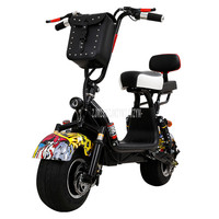 New Fashion 55km Mini Harley Electric Vehicle For Women Two Wide Tyre Instead of Walking Adult Electric Scooter Bicycle 48V20AH