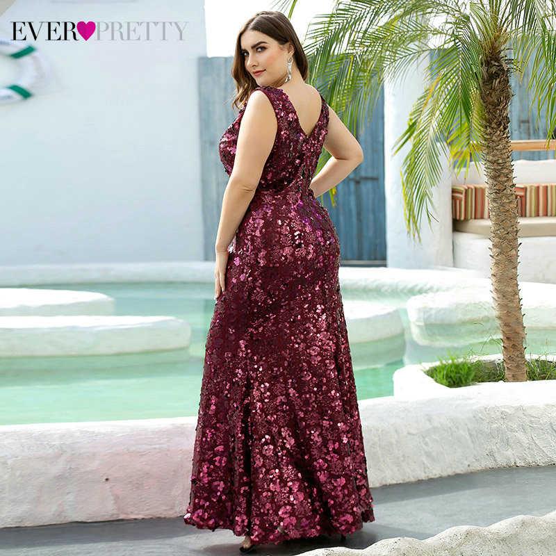 Роскошные платья для выпускного вечера больших размеров, вечерние платья с блестками без рукавов с двойным v-образным вырезом и блестками