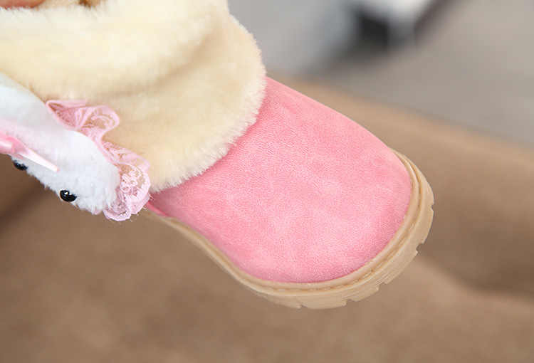 Girls Ankle Boots With Cute Cartoon Rabbit Fashion Kids Warm Boots For Toddlers Girl Lovely Cotton Snow Boots 21-30 For Children