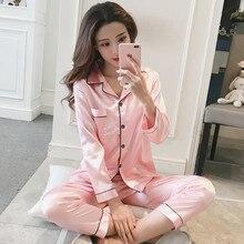 Frauen Satin Pyjamas Set Langarm und Lange Taste Unten Nachtwäsche Loungewear M 5XL