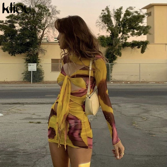Kliou Mesh Fabic Tied Front Hollow Out Printed Mini Dress Women See Through Stretchy Skinny Tassel Ruffles Sexy Party Clubwear 2