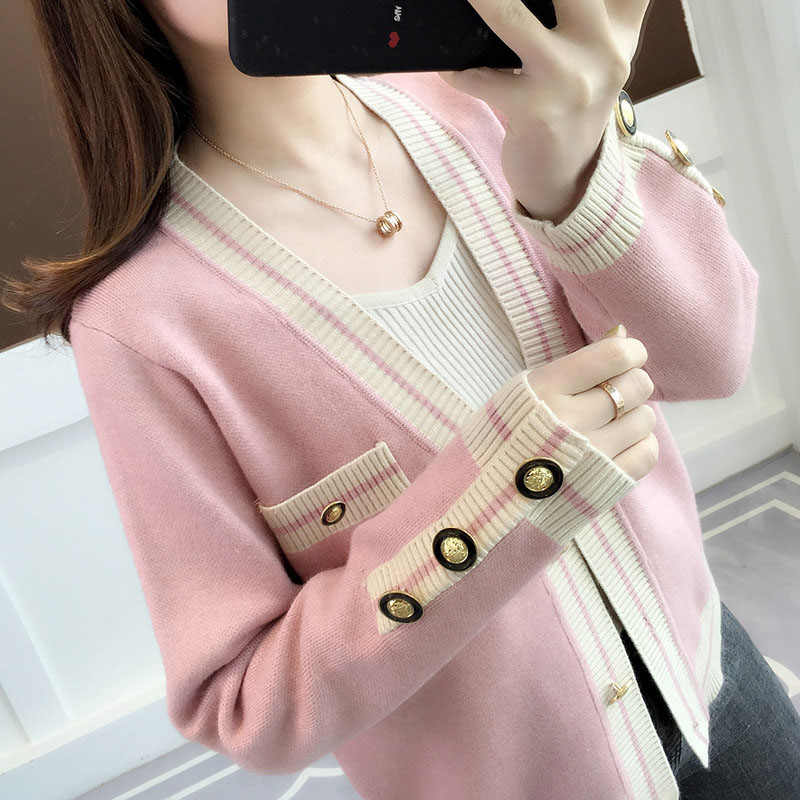 Women Autumn Cardigan With Button Warm V-Neck Fall Knitted Open Stitch Ladies High Quality Knit Sweater Female Sweaters Knitwear