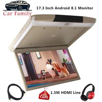 Монитор для крепления на крышу автомобиля, 17,3 дюйма, Android 8,1, HD 1080P, видео плеер, IPS экран, Wi Fi/HDMI/USB/SD/FM/Bluetooth