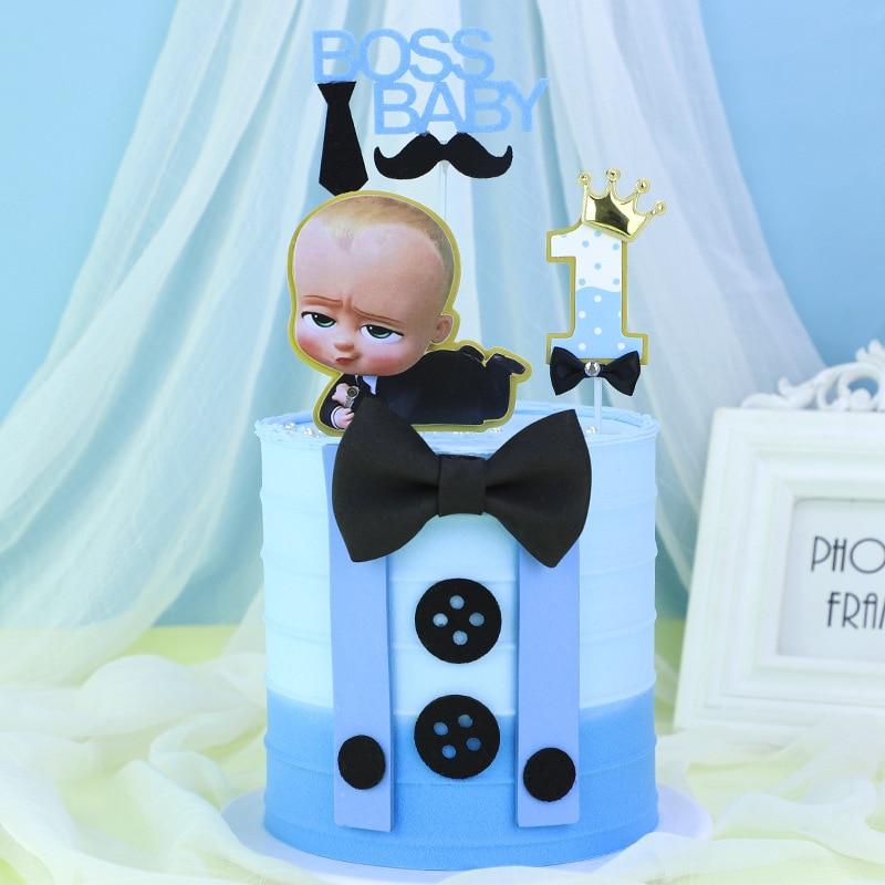 New Cute Boss Happy Birthday Cake Topper Cartoon Baby Boy Cupcake Topper Baby Shower Boys Kids Birthday Party Cake Decorations
