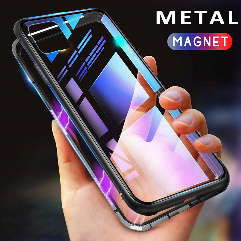 Case For Iphone 11 Pro Privacy Magnetic 360 Degree Metal Cover,Tempered Glass For Iphone 11 Pro Max (US STOCK)