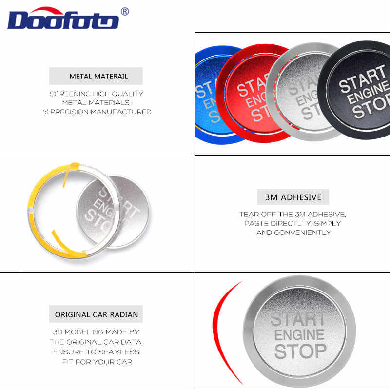 Doofoto para Alfa Romeo inicio parada motor botón cubierta anillo coche interior pegatina Accesorios Estilo inicio botón carcasa