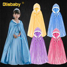 Winter Girls Velvet Princess Long Cloak Fancy Fairy Cinderella Belle Aurora Rapunzel Kids Floor Length Corduroy Hooded Cape cinderella cinderella long cold winter 180 gr