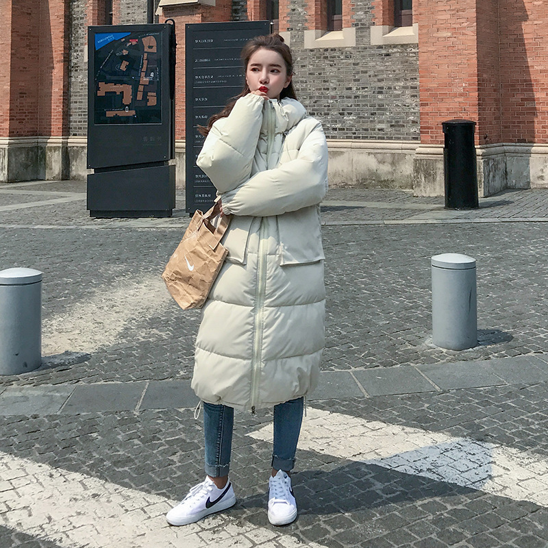 KMVEXO Fashion Long Warm Parka Winter Women Hooded Coat 2019 Plus Size Big Pocket Solid Jacket Cotton Padded