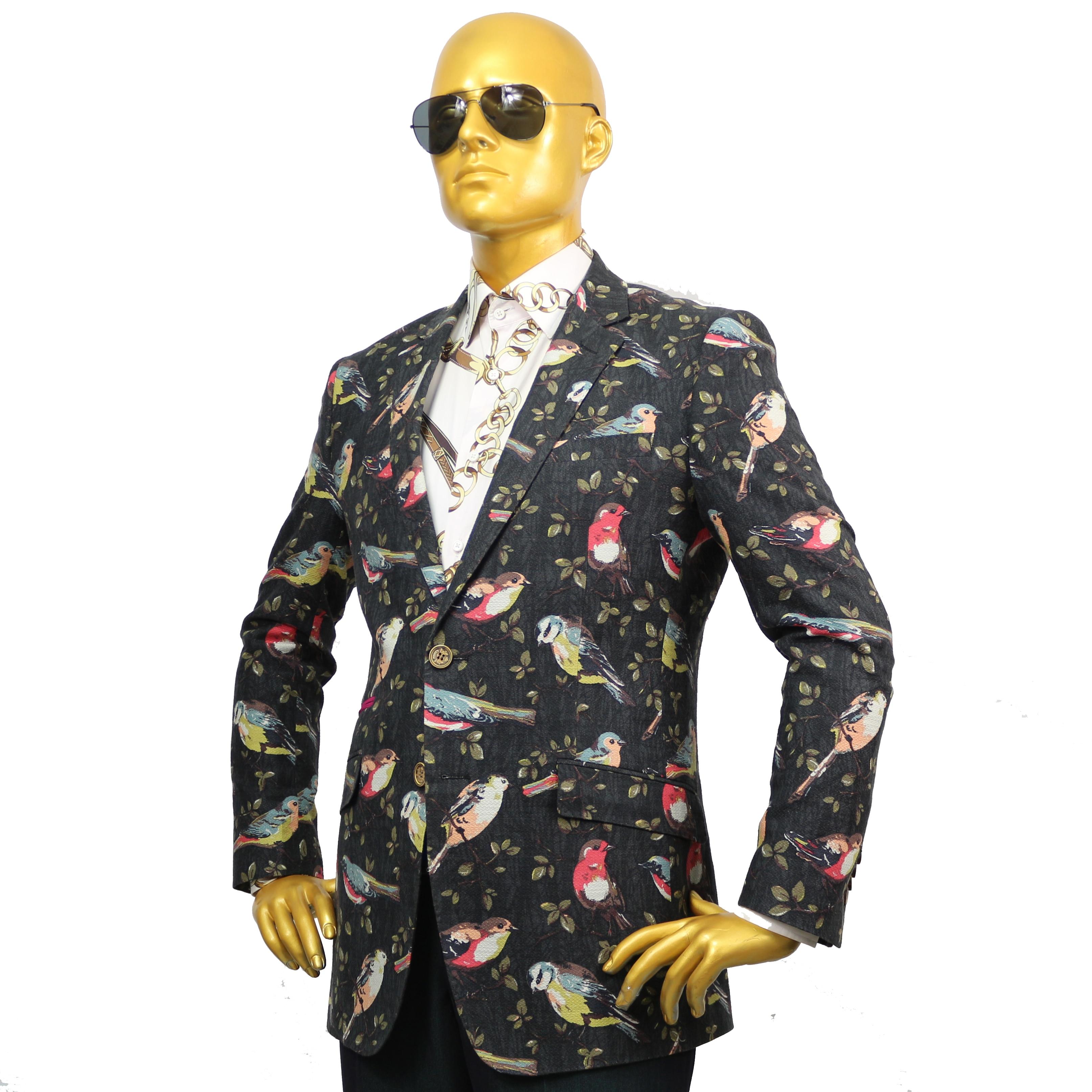 Custom Tailor Made Men S Bespoke Suits Business Designer Wedding Bespoke 2 Piece Suit Jacket Pants  Bird Floral Cotton Slim 20