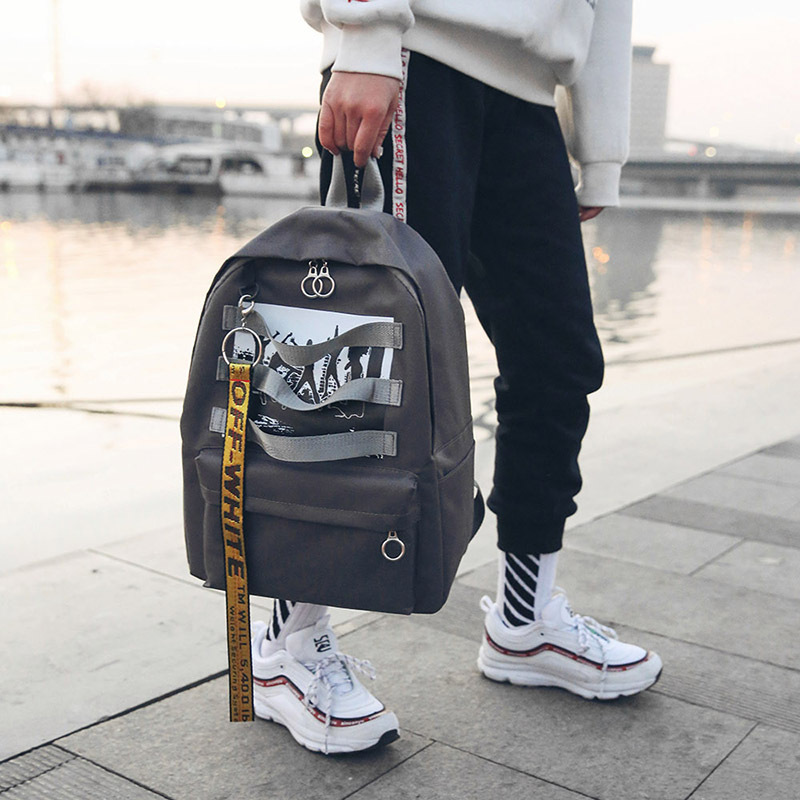 Harajuku hip hop Men <font><b>Backpack</b></font> School Bags For Teenagers Printing Designer <font><b>Backpack</b></font> <font><b>unisex</b></font> off Travel white Student Graffiti Bags image