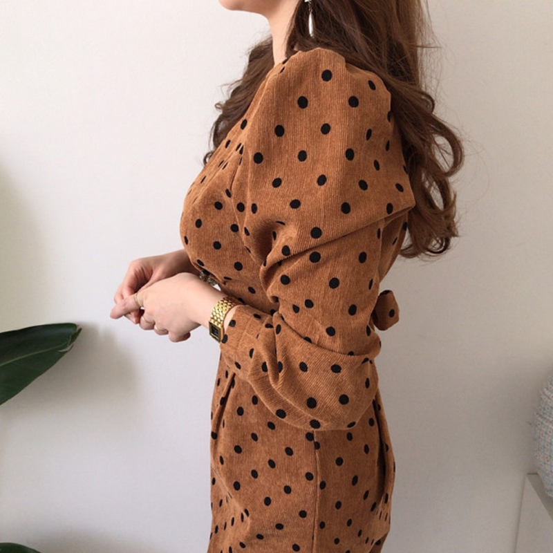 French style Spring autumn Women Casual Polka Dot Print A-Line Party Corduroy Dresses Eleagnt lace-up Slim Dress Fashion 3