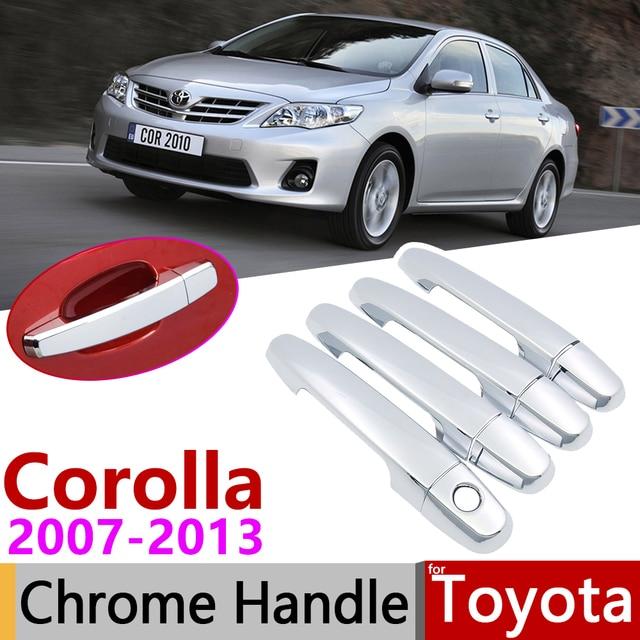 for Toyota Corolla E140 E150 2007~2013 Chrome Door Handle Cover Car Accessories Stickers Trim Set 2008 2009 2010 2011 2012