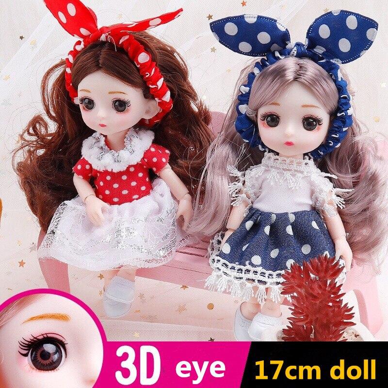 Muñeca Bjd de 16cm para niñas, 13 muñecas articuladas móviles en 3D con ojos reales, vestido de moda para bebé con ropa, zapatos, juguete para regalo|Muñecas| - AliExpress