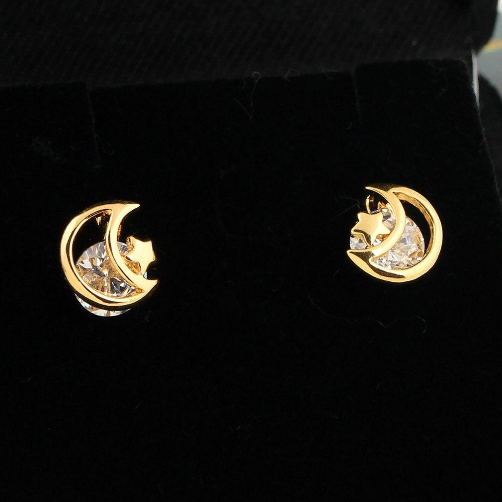 Hollow Out Moon Star Zircon Women Ear Stud Earrings Piercing Ear Studs for Women Wedding Engagement Party Gift