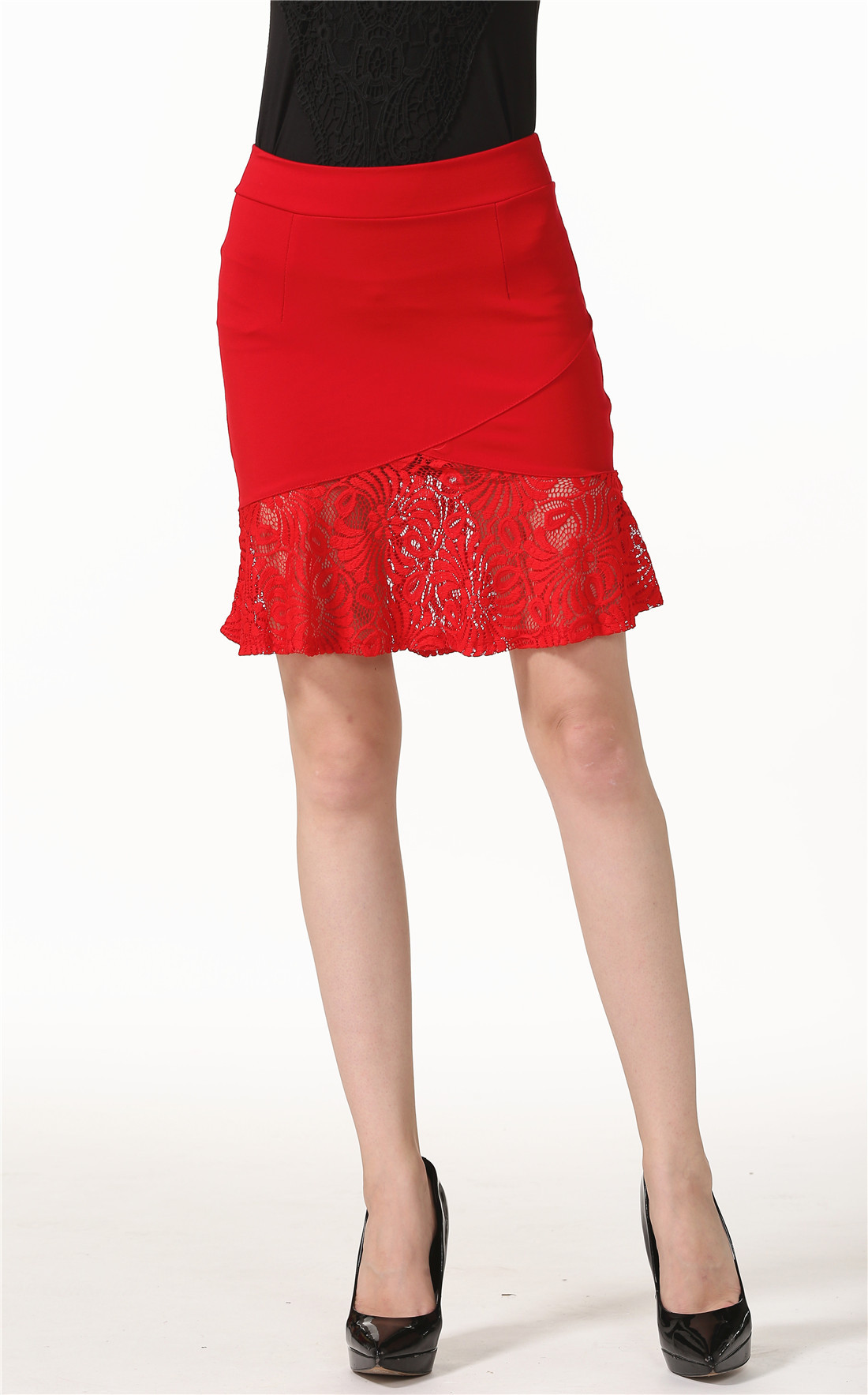Summer New Style Europe And America Lace-Panel Skirt High-waisted Elasticity Skirt Sexy Sheath Fishtail Skirt Women's S-5xl
