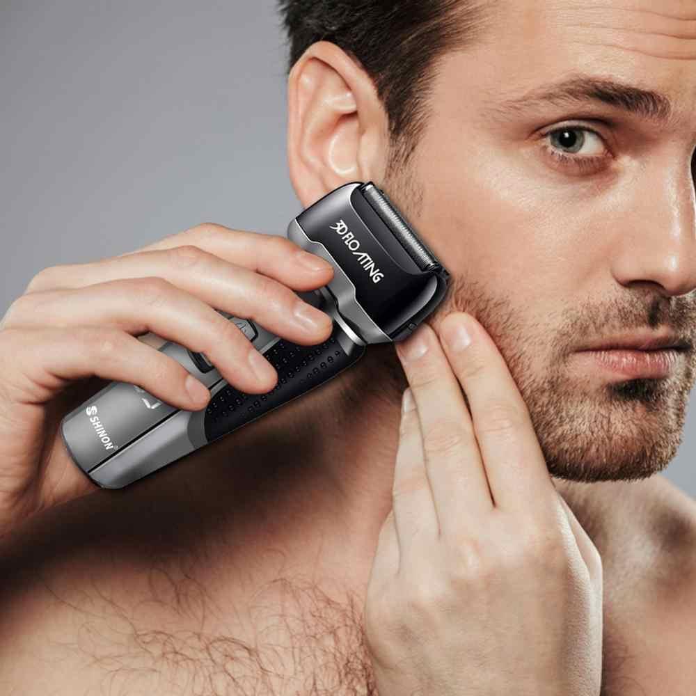 4 bıçak profesyonel ıslak ve kuru tıraş makinesi şarj edilebilir elektrikli tıraş makinesi erkekler jileti sakal düzeltici tıraş makinesi LCD ekran