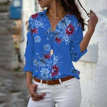 Long Sleeve Women Blouses 2021 Plus Size Turn-down Collar Blouse Shirt Casual Tops Elegant Work Wear Chiffon Shirts 5XL 6
