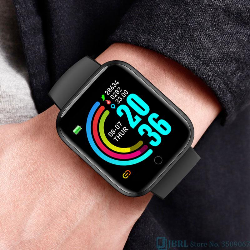 H1aff5cb58bfa41d98a22b74aa4323006s 2021 Ladies Sport Bracelet Smart Watch Women Smartwatch Men Smartband Android IOS Waterproof Fitness Tracker Smart Clock Mens