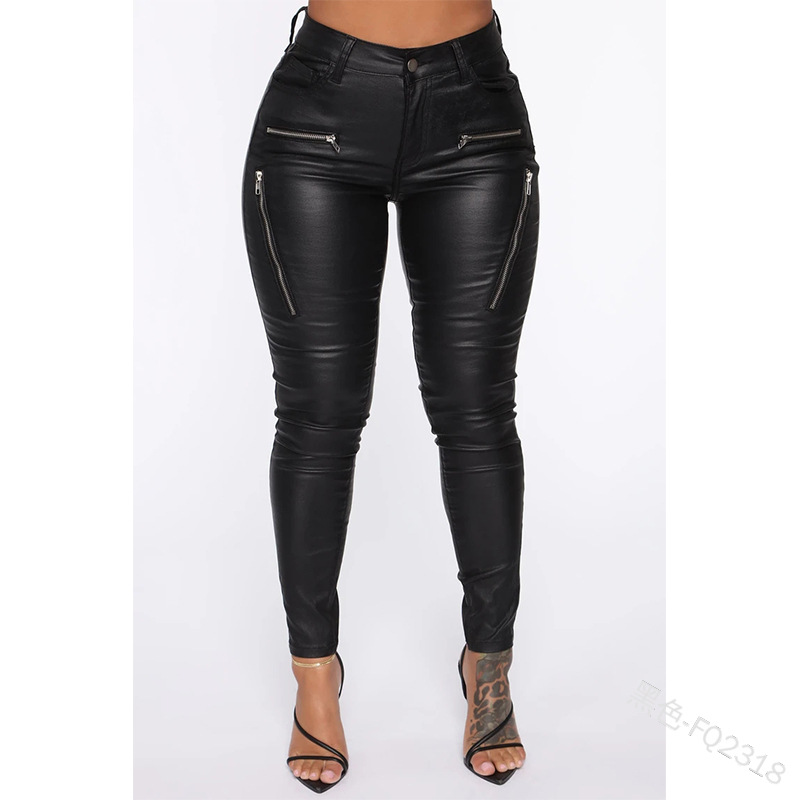 Women High Waist Gothic Leather-Solid Long Pencil Pants