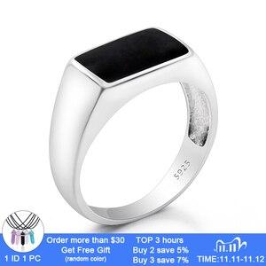Image 1 - Turkish Men Ring  925 Sterling Silver Rectangle Black Enamel Thai Silver Ring for Men Women Unisex Fashion  Jewelry