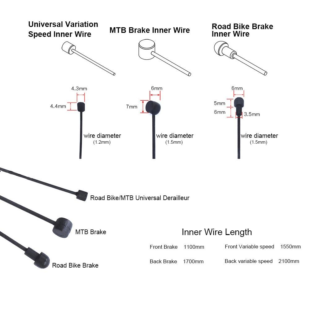 Câble revêtu pour frein/changement de vitesse, 1 pièce, pour vtt, vélo de route, dérailleur avant et arrière, ligne intérieure 2100mm, 1550mm, 1700mm, 1100mm
