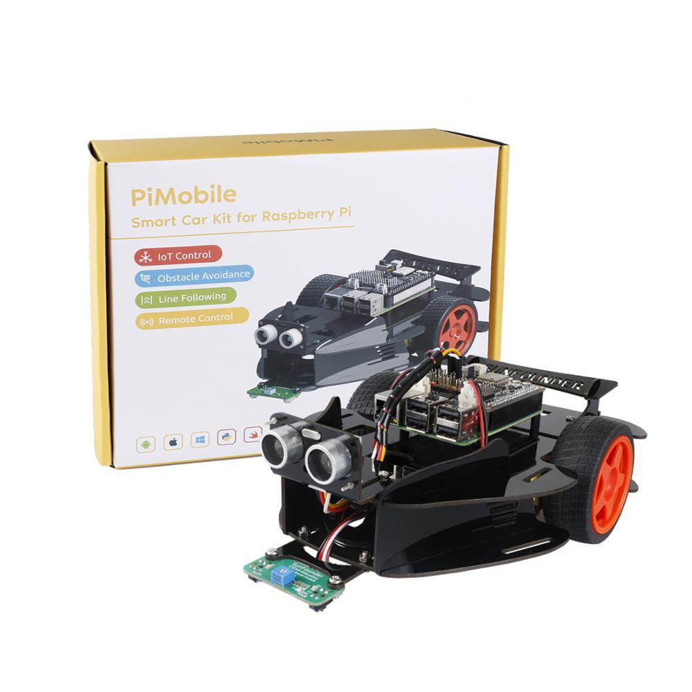 SunFounder PiMobile-Smart Car Kit Based On Ezblock For Raspberry Pi Model 4B 3B+ B 2B(RPi Not Included)