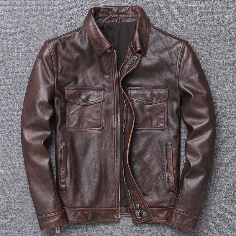Name Brand Retro Mens Cow Leather Jacket And Coat Black 4XL Big And Tall Mans Genuine Leather Coats Male Overcoat Cowskin A847