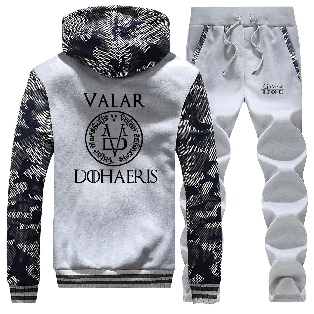 Game Of Thrones Camo Men Set Valar Dohaeris Sportsman Wear Arya Stark Thick Jacket 2019 Winter Hoodie Warm Fashion Two Piece Set