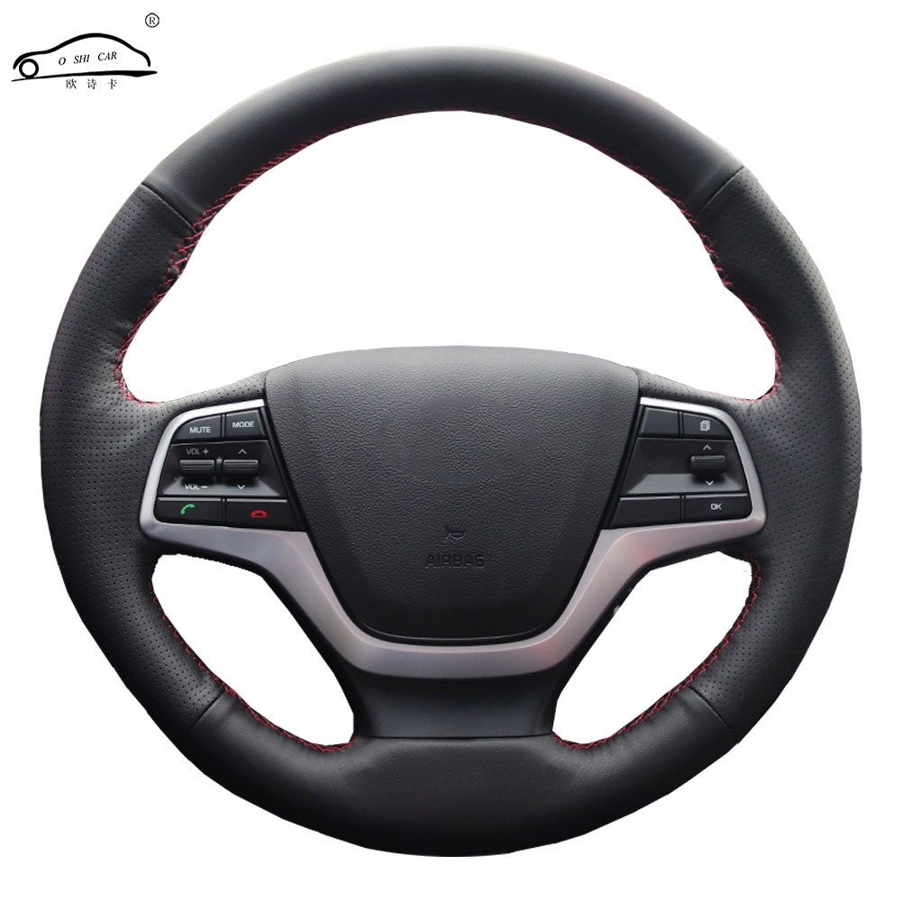 Genuine Leather car steering wheel Cover for Hyundai Elantra 4 2016 2017 Solaris 2017 Accent 2018/Steering Wheel Handlebar Braid|Steering Covers| |  - title=