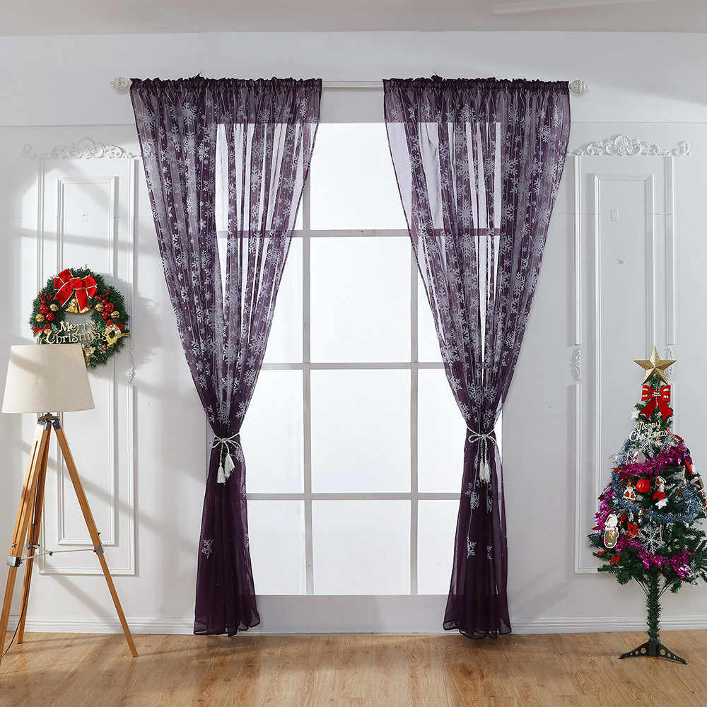 1 pcs Christmas snowflake curtain tulle window treatment chiffon curtain Valance home elegant and romantic curtain