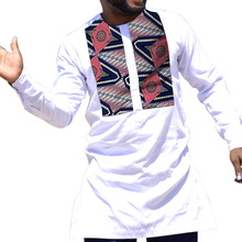 African Print Shirt Mens Dashiki Shirts Ankara Top White & Wax Clothing Africa Designed Outfit