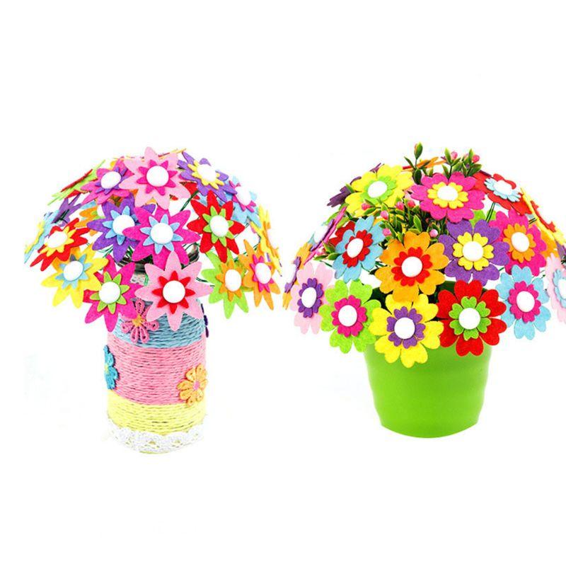Mother Day Gifts Fake Flower Button Cloth Bouquets Kids Girls Kindergarten Handmade Puzzles DIY Material Bouquet
