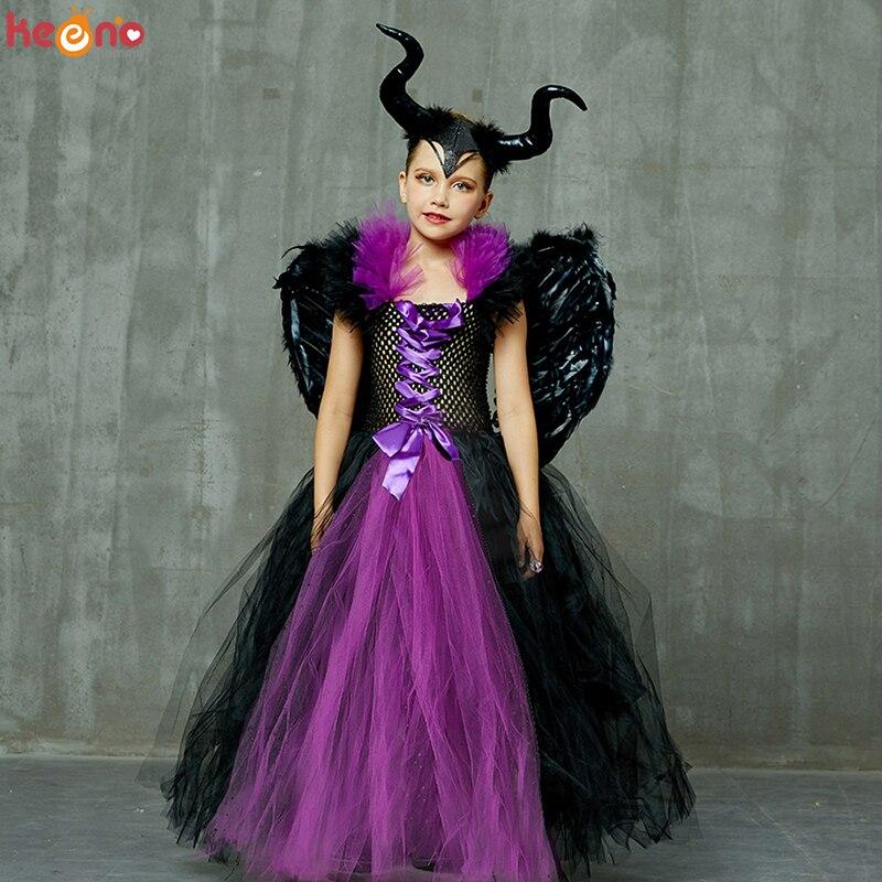 Maleficent conjunto de roupas para meninas tutu vestido chifre asa crianças vilão maléfica fantasia vestido bruxa mal preto halloween traje