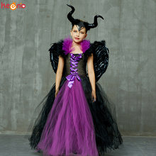 Maleficent/комплект одежды для девочек; Платье пачка с роговыми