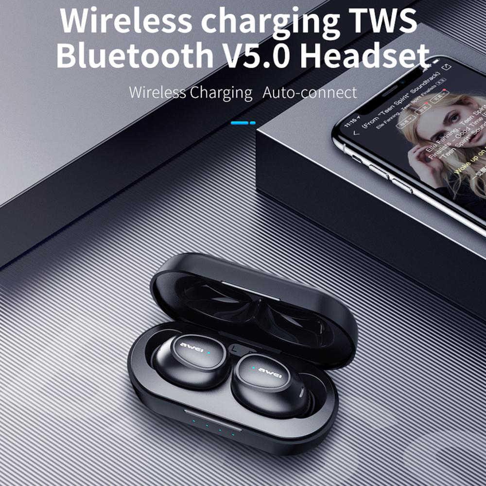 AWEI T16 TWS auricolari Senza Fili di Ricarica Auricolari Auto Collegare Bluetooth Cuffia per Xiaomi Redmi Huawei iPhone