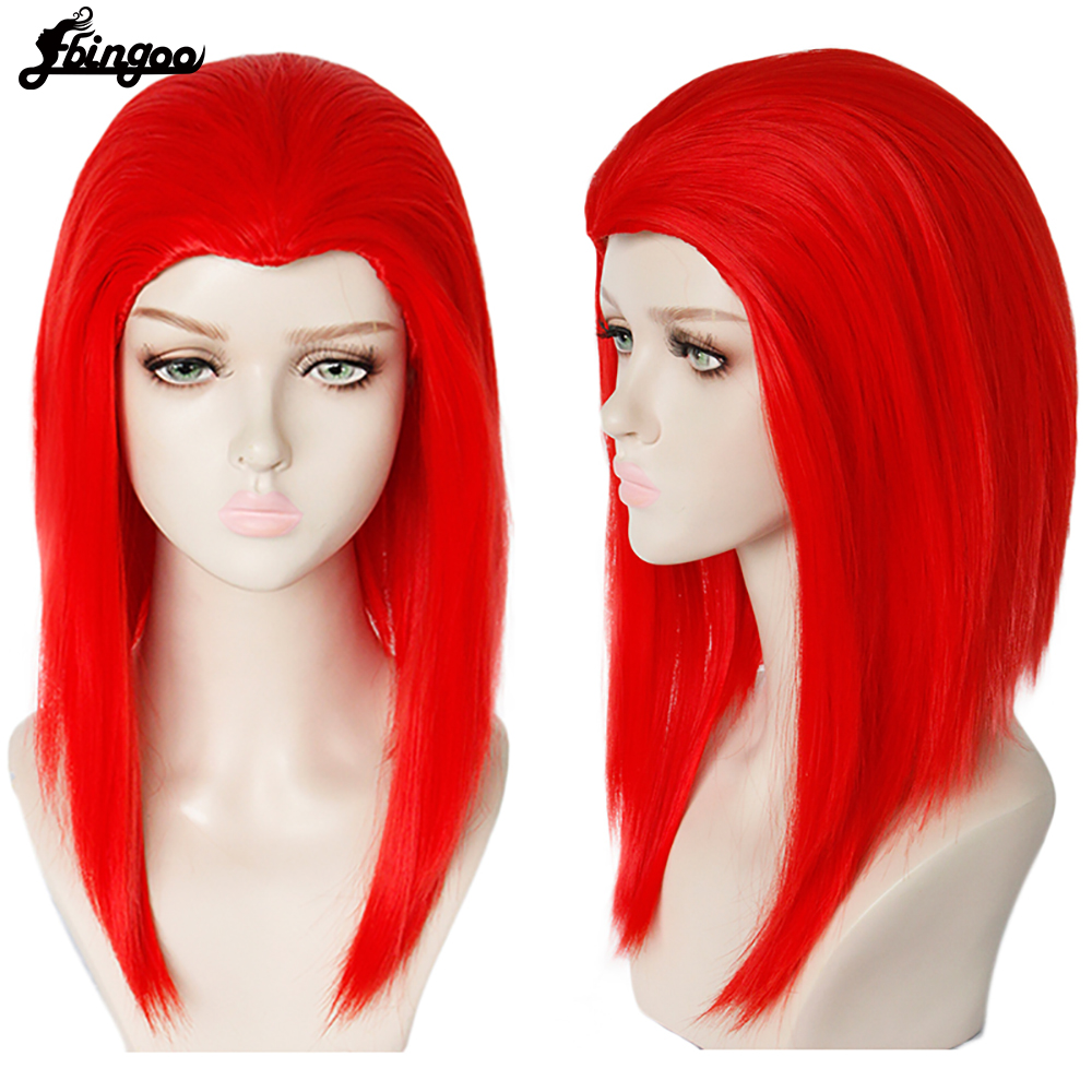 Ebingoo X-Men Dark Phoenix Wig Short Straight Red Purple Synthetic Cospaly Wig for Costume Party