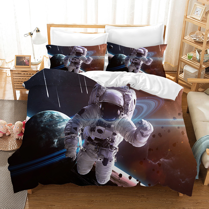 The Astronauts 3d Bedding Set Duvet Covers Set Pillowcases Cosmonaut Taikonaut Comforter Bedding Sets Bedclothes Bed Linen in Bedding Sets from Home Garden