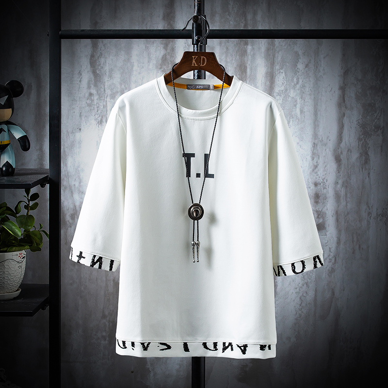New 2020 letter Men's T-shirt Print Cotton Summer Short Sleeve O-Neck Tees Male Fashion Shirt(China)