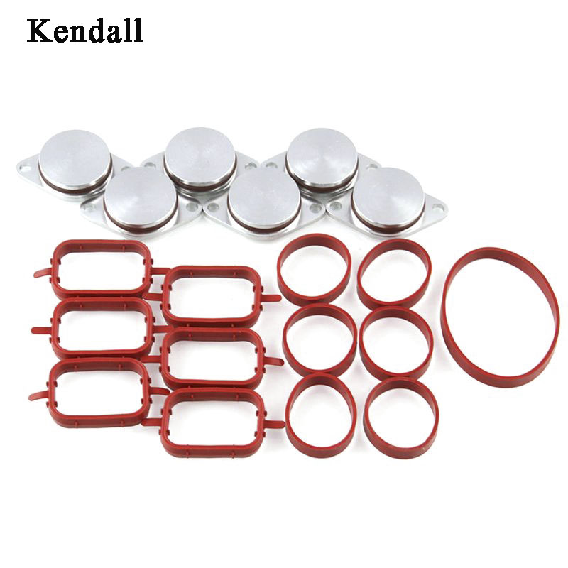 6x 22mm Diesel Swirl Flap Blanks Replacement Bungs with Intake Manifold Gasket for BMW 320d 330d 520d 525d 530d image