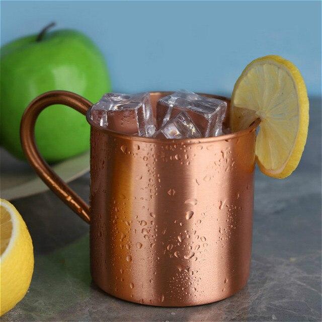 Mug pour cocktails de moscou, avec poignée en cuivre pur Style européen et américain, tasse de Bar pour boissons froides, h3