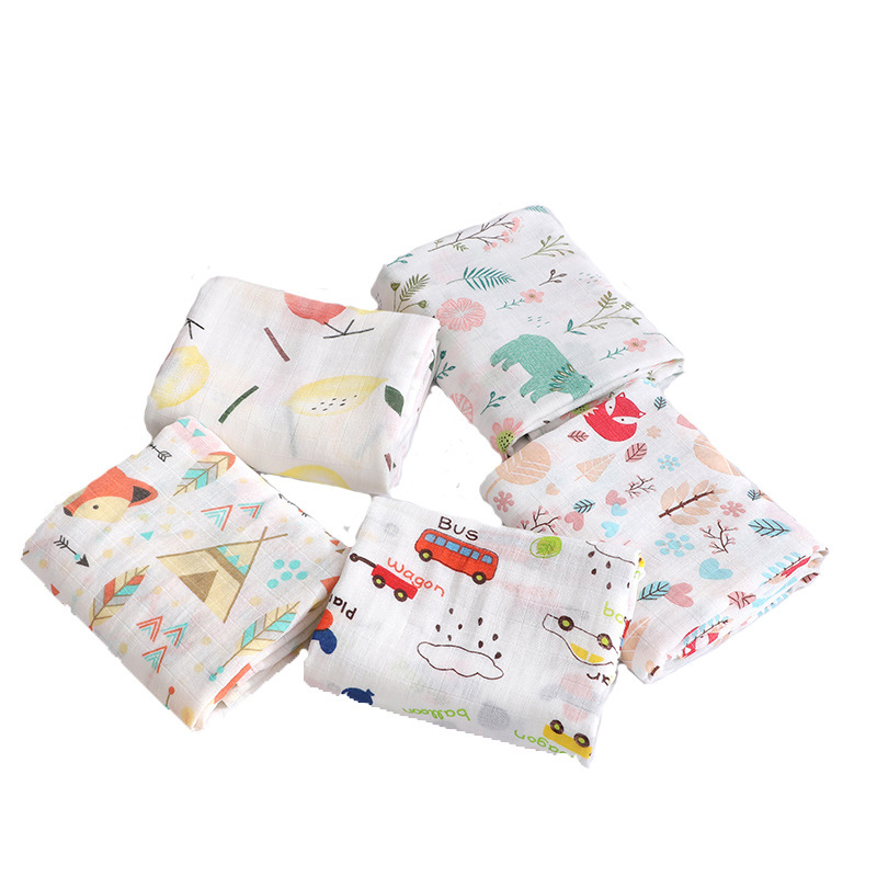 Muslin 100% Cotton Animal Baby Blanket Swaddle Soft Newborn Blankets Bath Gauze Infant Wrap Sleepsack Stroller Cover 110*120cm