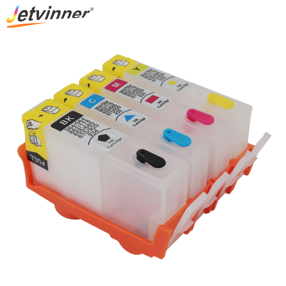 Jetvinner For HP 670 4-color Refillable Ink Cartridge for HP670 Deskjet 3525 4615 4625 5525 Printers with ARC chips image